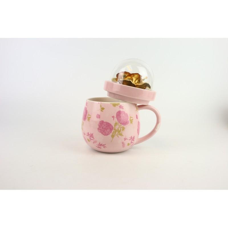 金箔玫瑰花瓷杯 加花紙(粉紅色)