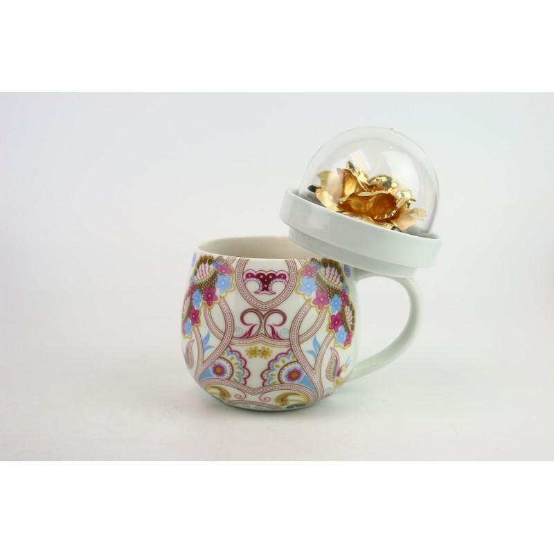 金箔玫瑰花瓷杯 加花紙(藍色)