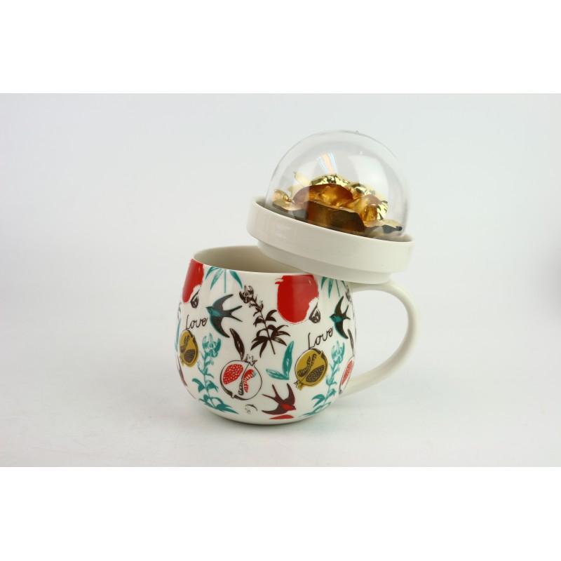 金箔玫瑰花瓷杯 加花紙(白色)