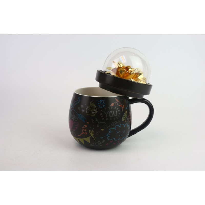 金箔玫瑰花瓷杯 加花紙(黑色)