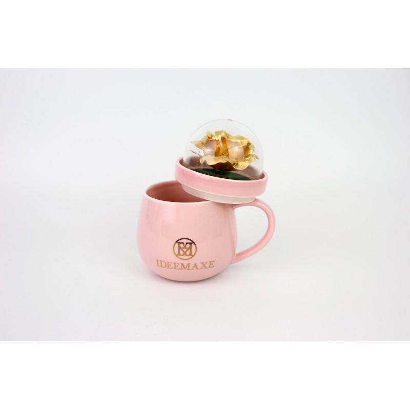 金箔玫瑰花瓷杯(粉紅色)