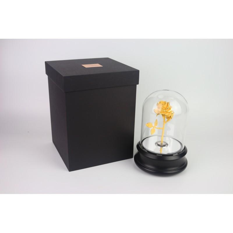 新款玫瑰花-小-黑色(旋轉+燈+音樂)